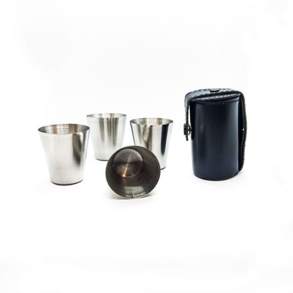 Metalinių taurelių rinkinys dėkliuke, juoda