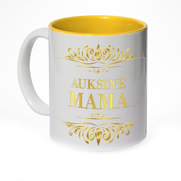 Dekoruotas puodelis auksinei mamai