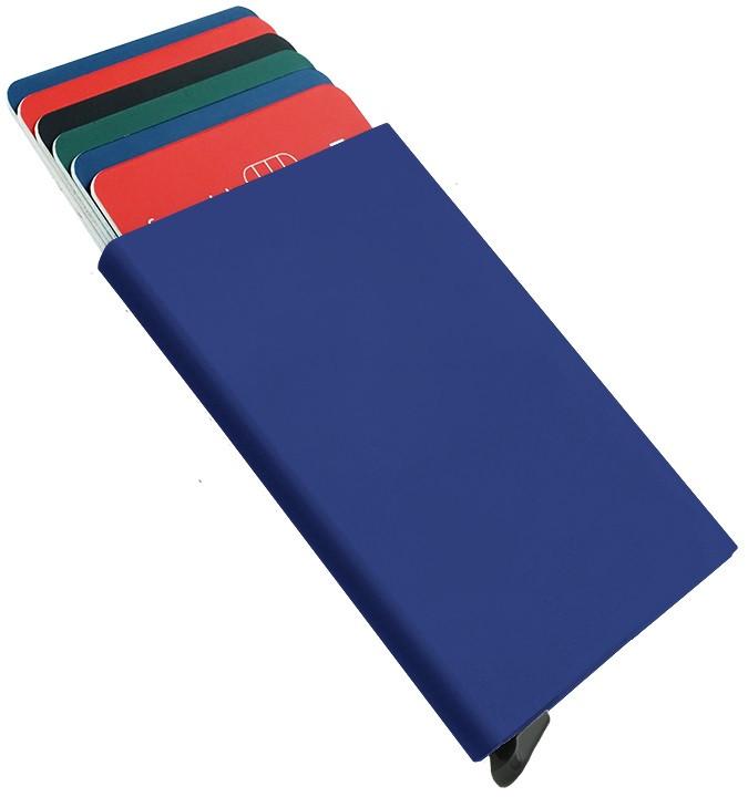 Metalinis iššokantis kreditinių kortelių dėklas, mėlynas