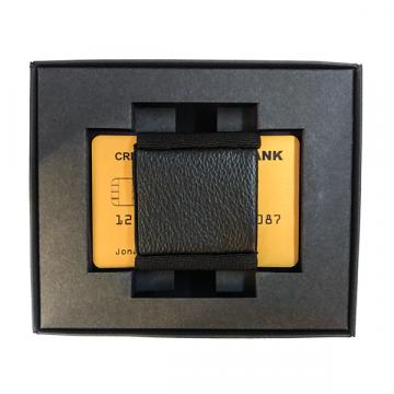 Kreditinių kortelių dėklas su gumele ir natūralios odos kišenėle
