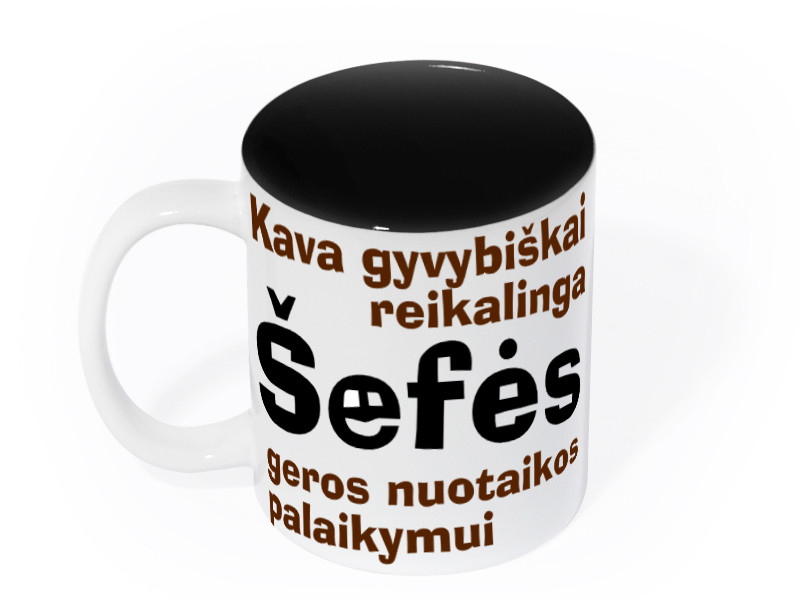"""Puodelis šefei """"Kava gyvybiškai reikalinga"""""""