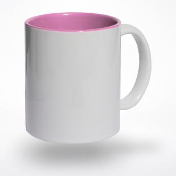 Puodelis rožiniu vidumi